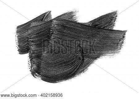 Black Abstract Aquarel Watercolor Stain Background Isolated On White. Black Acrylic Watercolor Brush