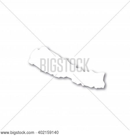 Nepal - White 3d Silhouette Map Of Country Area With Dropped Shadow On White Background. Simple Flat
