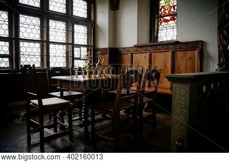 Castle Interior, Retro Style Dining Room With Baroque And Renaissance Furniture, Wine Glasses Set Up