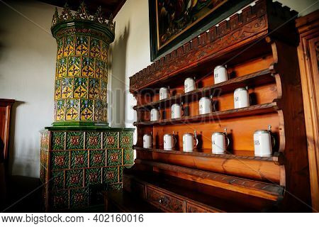 Castle Interior, Retro Style Room With Wood Carved Baroque And Renaissance Furniture, Antique Green
