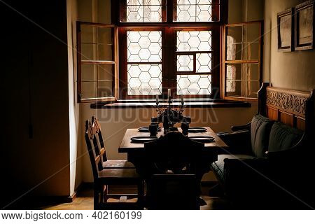Castle Interior, Retro Style Dining Room With Baroque And Renaissance Furniture, Wooden Carved Sofa,