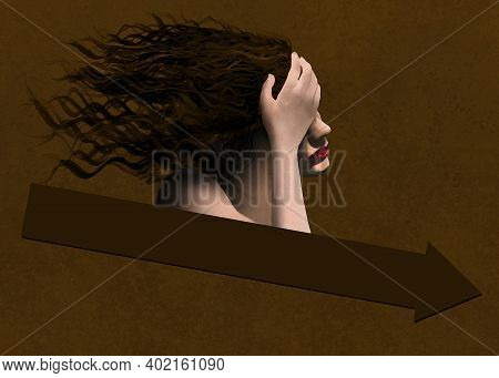 A Young Woman With Hair Flowing In The Wind Goes In A Downward Direction With A Downward Pointing Ar