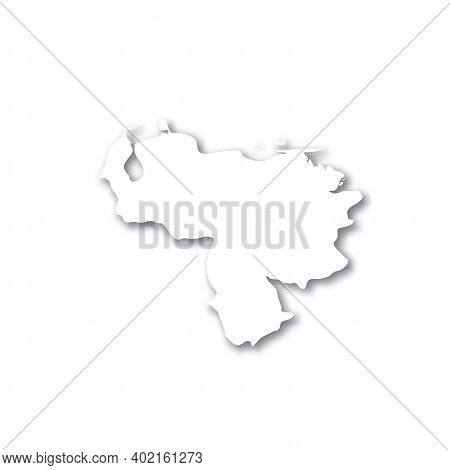 Venezuela - White 3d Silhouette Map Of Country Area With Dropped Shadow On White Background. Simple