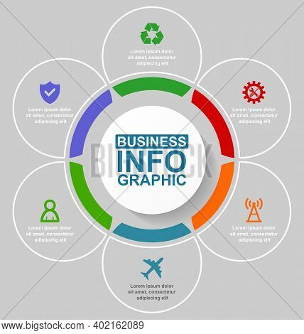 Infographic Vector Template For Presentation, Chart, Diagram, Graph, Business Concept With 6 Options