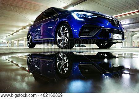 Riga, Latvia - January 6, 2021: New Car Renault Clio E-tech 140 Hybrid Rs, 2020. Selective Focus