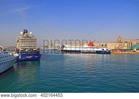 Port Of Piraeus, Athens, Attica, Greece - October 18, 2018:  Port Piraeus With Ferry Boats And Cruis