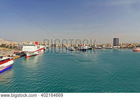 Port Of Piraeus, Athens, Attica, Greece - October 18, 2018:  Port Piraeus With Many Docked Ships And