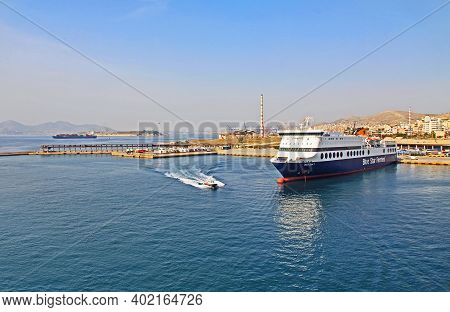Port Of Piraeus, Athens, Attica, Greece - October 18, 2018:  Port Piraeus With A Tugboat, Docked¬ Fe