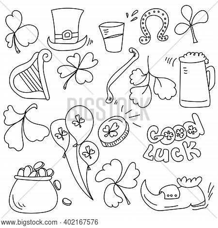 St Patrick's Day Contour Doodles Set, Symbols Of Wealth And Good Luck Vector Illustration