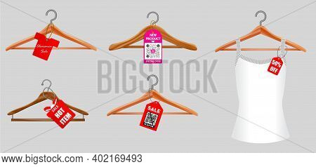Set Of Clothes Hangers Or Clothes Hangers Isolated On White Background Or Illustration Of Clothes Ha