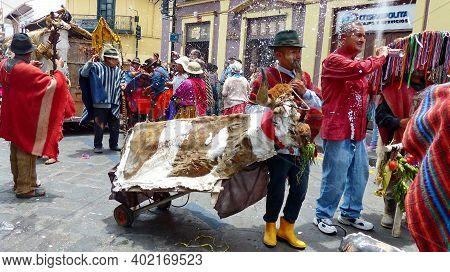 Cuenca, Ecuador - February 22, 2020: Carnival Parade In Cuenca City. Group Of Indigenous Village Peo