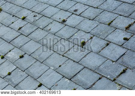 Old Slate Roof Tiles With Moss And Lichen, Roofing Background, Uk
