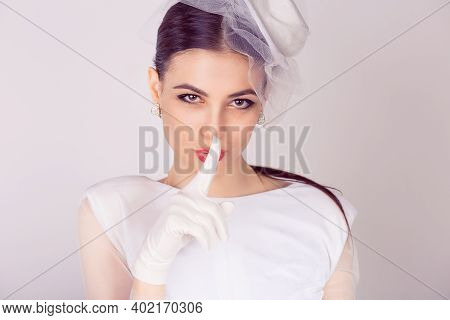 Bride Retro Styled Shh Woman Wide Eyed Asking For Silence Secrecy With Finger On Lips Hush Hand Gest