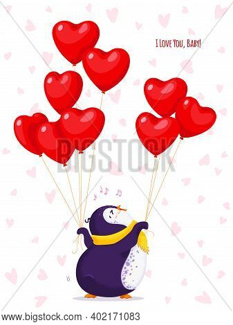 Greeting Card For Valentine Day With A Funny Penguin. Cartoon Vector Penguin With Balloons-hearts. I