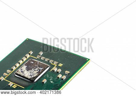 Old Green Chipset On A White Background
