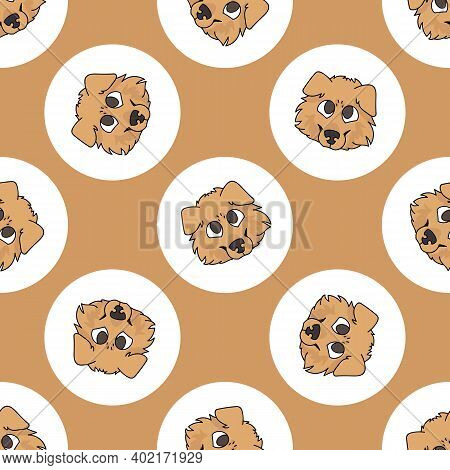 Hand Drawn Cute Scottish Collie Dog Breed In Polka Dot Seamless Vector Pattern. Purebread Pedigree P