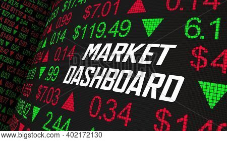 Market Dashboard Stock Price Tracker Manage Buy Sell Shares Ticker 3d Illustration