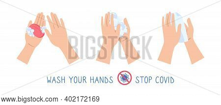 Hand Soap Washing Method Washing Flat Cartoon Set