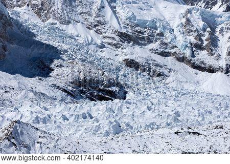 Khumbu Glacier In Everest Base Camp, Himalayas, Nepal. Immaculate Photo.