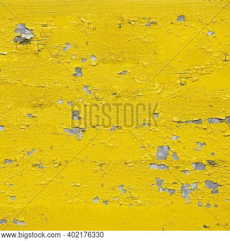 Crackled Paint Background. Old Damaged Cracked Paint Wall, Grunge Background, Yellow And Gray Color