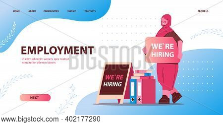 Arab Businesswoman Hr Manager Holding We Are Hiring Poster Vacancy Open Recruitment Human Resources