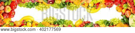 Wide panoramic composition healthy vegetables and fruits isolated on white background.