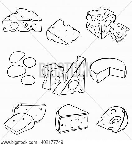 Cheese Flat Line Icons Set. Parmesan, Mozzarella, Dutch, Ricotta, Butter, Blue Chees Piece Illustrat