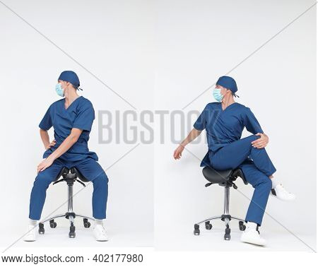 Man medical professional stretching back,neck, legs sitting on mobile saddle