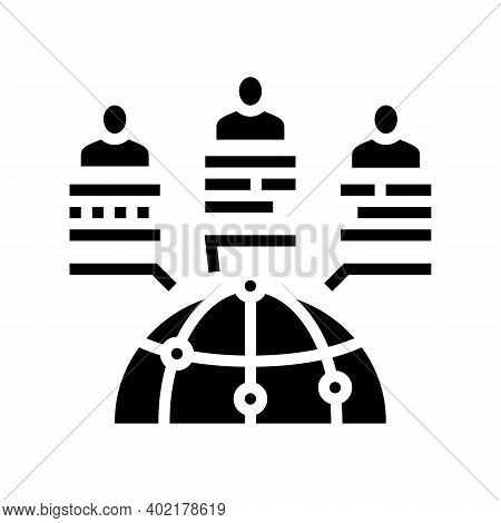 Worldwide Communication And Market Research Glyph Icon Vector. Worldwide Communication And Market Re