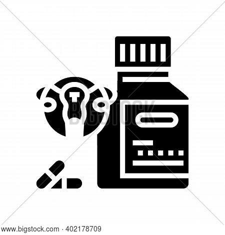 Gynecology Pills Glyph Icon Vector. Gynecology Pills Sign. Isolated Contour Symbol Black Illustratio