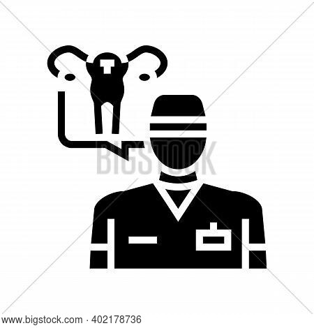 Gynecolog Doctor Glyph Icon Vector. Gynecolog Doctor Sign. Isolated Contour Symbol Black Illustratio