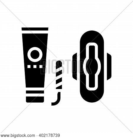 Woman Sanitary Accessories Glyph Icon Vector. Woman Sanitary Accessories Sign. Isolated Contour Symb