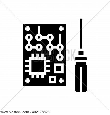 Microchip Make Geek Glyph Icon Vector. Microchip Make Geek Sign. Isolated Contour Symbol Black Illus