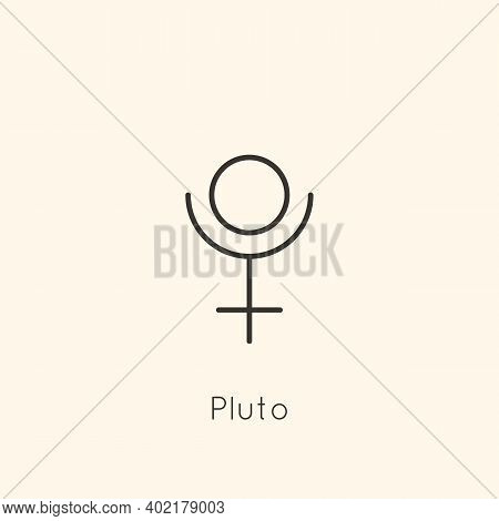 Pluto Planet Symbol Icon In Minimal Liner Trendy Style. Vector Astrological Sign For Logo, Tattoo, C