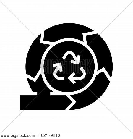 Recycling And Circular Economy Glyph Icon Vector. Recycling And Circular Economy Sign. Isolated Cont