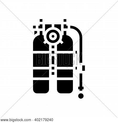 Scuba Diver Equipment Glyph Icon Vector. Scuba Diver Equipment Sign. Isolated Contour Symbol Black I