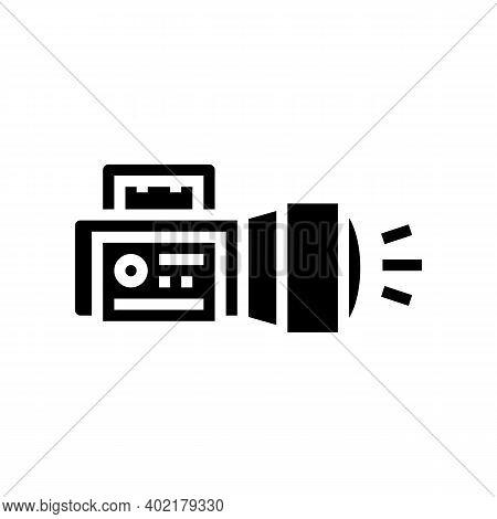 Flashlight Tool Glyph Icon Vector. Flashlight Tool Sign. Isolated Contour Symbol Black Illustration