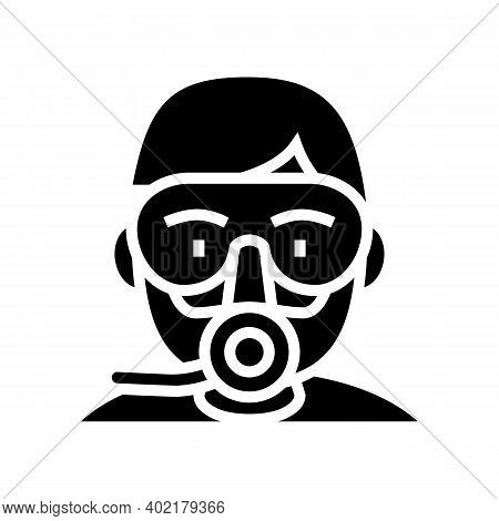 Diver Mask And Breath Tool Glyph Icon Vector. Diver Mask And Breath Tool Sign. Isolated Contour Symb