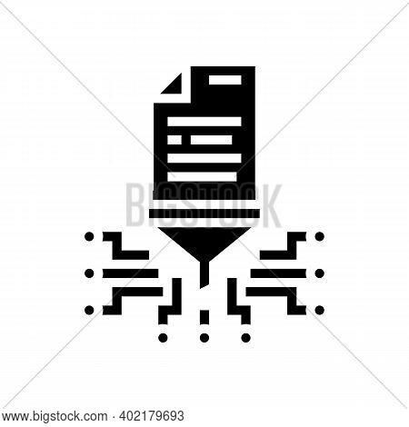File Filtration Glyph Icon Vector. File Filtration Sign. Isolated Contour Symbol Black Illustration