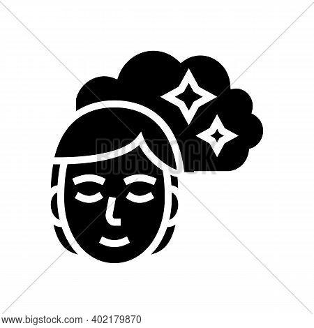 Woman Nostalgia Glyph Icon Vector. Woman Nostalgia Sign. Isolated Contour Symbol Black Illustration