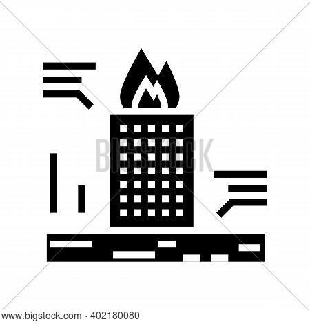 Skyscraper Fire Test Glyph Icon Vector. Skyscraper Fire Test Sign. Isolated Contour Symbol Black Ill