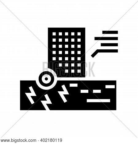 Skyscraper Seismic Resistance Glyph Icon Vector. Skyscraper Seismic Resistance Sign. Isolated Contou