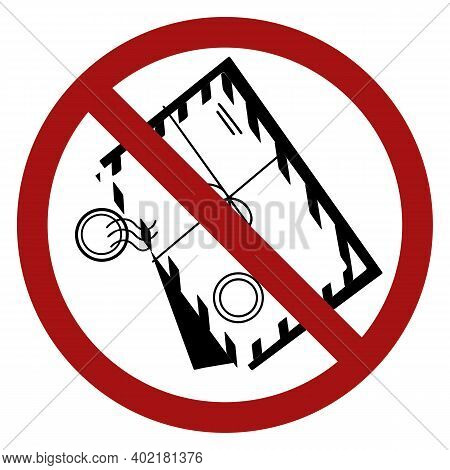 Black Silhouette Of Paper Envelopes With Red Prohibition Signs. Ban On Sending Letters. Stop Spam. D