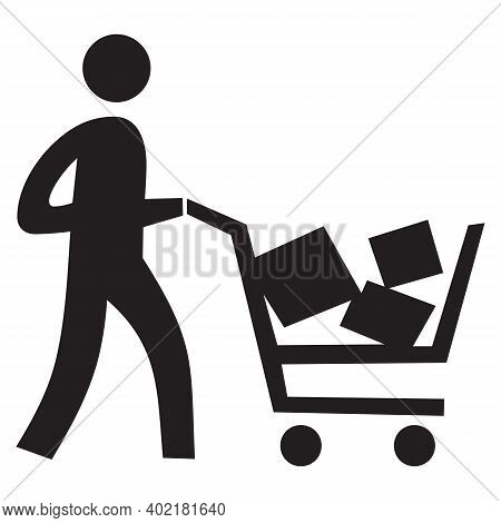 Person And Luggage Cart Solid Icon. Man And Baggage Cart Illustration Isolated On White. Human With