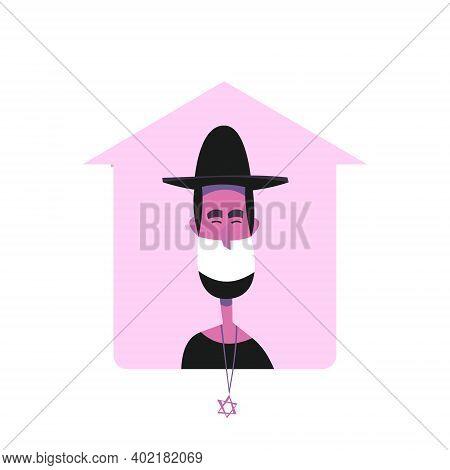 Jewish Rabbi Holds Saturday Sabbath Online. Home Synagogue During Quarantine Due To Covid-19 Coronav