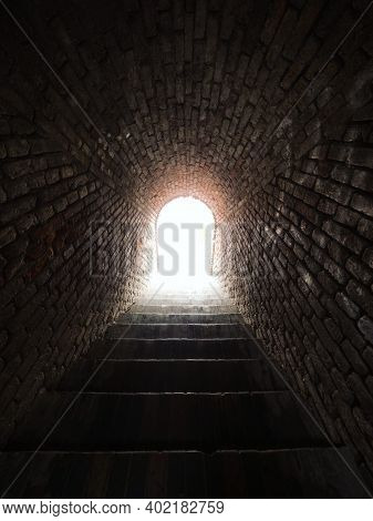 Light At The End Of The Tunnel Cave Entrance Exit Staircase In Medieval Castle Hill Schlossberg In G