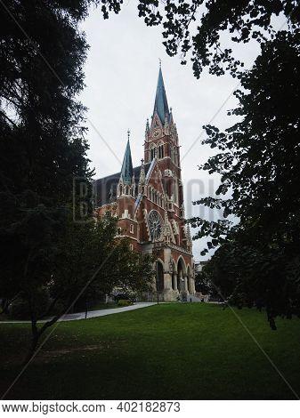 Neo Gothic Revival Historic Roman Catholic Church Of The Sacred Heart Of Jesus Herz Jesu Kirche In G