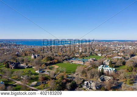 Newport, Ri - Nov 29, 2020: Skyline View Of Newport Rhode Island With The Claiborne Pell Newport Bri