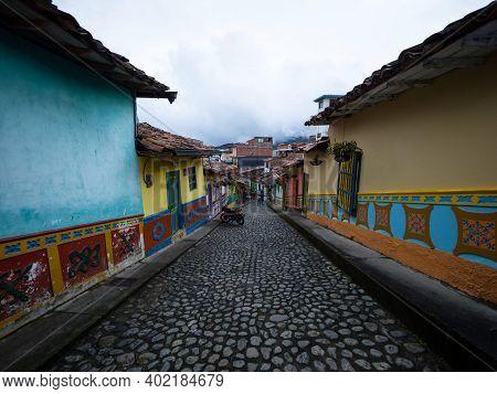 Cobblestone Streets Alley In Picturesque Colorful Facades Town Village Guatape Pueblo De Zocalos In