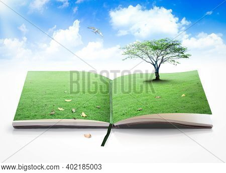 World Environment Day Concept: Opening Book Of Nature With Bird Flying Over Blue Sky Background